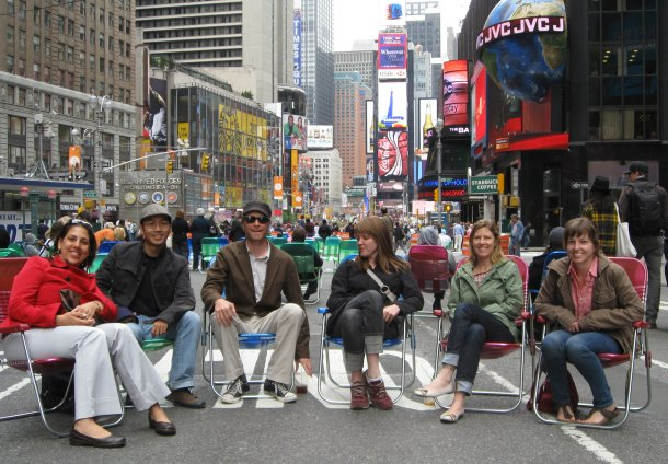 Tri-State Transportation Campaign staffers took to a car-free Broadway today.